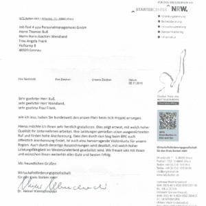 Job find 4 you erhält Gratulationsschreiben von der Wirtschaftsförderungsgesellschaft für den Kreis Borken